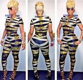 jumpsuit,leggings,lion head,lion,gold chain,pant set,legging set,bodycon,keyshia kaoir,kaoir