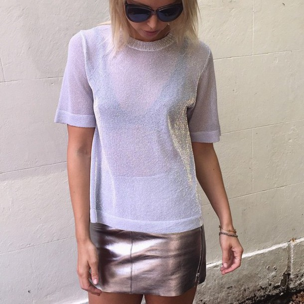 shirt skirt sunglasses bracelets glitter bra holographic sheer see through