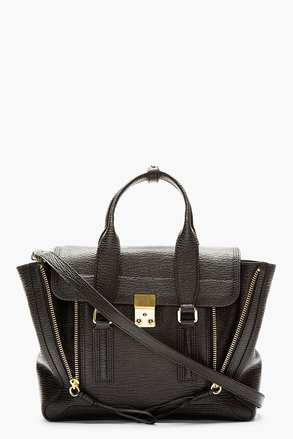 3.1 phillip lim black textured leather pashli medium satchel
