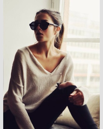 sweater tan long sleeves off the shoulder sweater casual casual casual ponytail