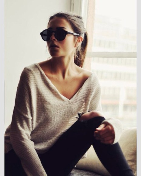 sweater off the shoulder sweater long sleeve tan one shoulder casual look casual outfit casualstyle deadly in love