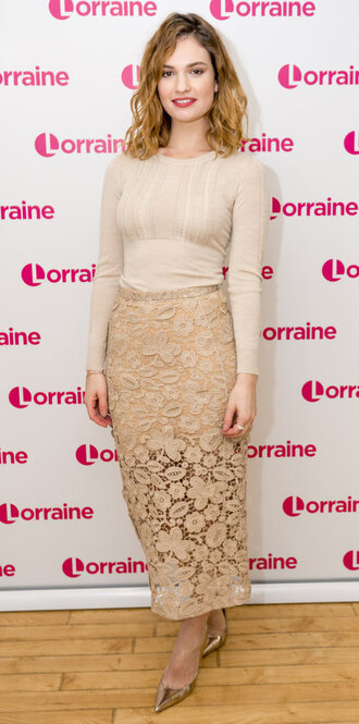 skirt top midi skirt lace pumps lily james shoes