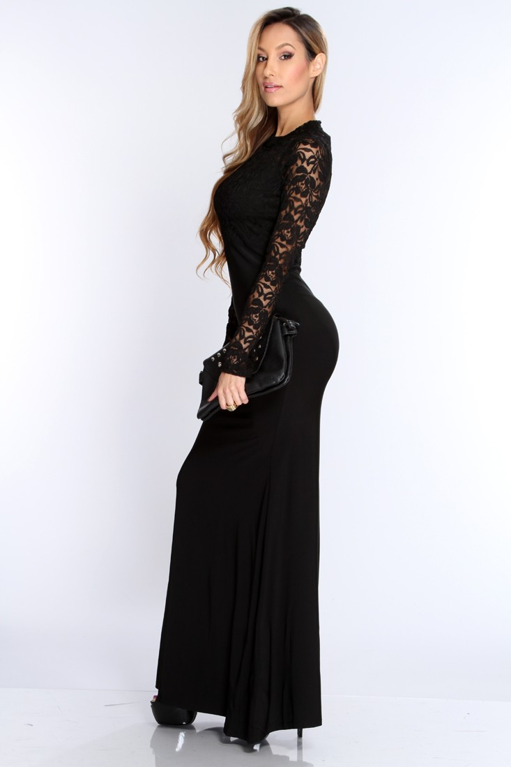 Black Floral Lace Long Sleeve Sexy Cocktail Dress
