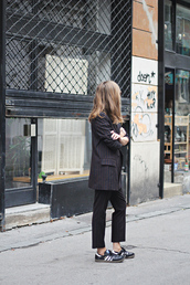 jacket,striped blazer,tumblr,pants,stripes,striped pants,cropped pants,blazer,sneakers,black sneakers,adidas,low top sneakers,matching set,power suit