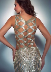 dress,backless prom dress,backless dress,prom dress,silver dress,gold dress