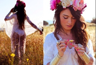 dress flowers gorgeous long hair flower crown free people white dress white skinny jewels hat