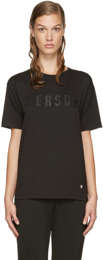 t-shirt shirt embroidered black top