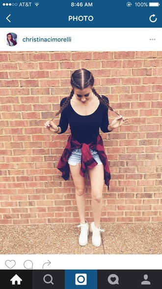 blouse black red flannel shorts heels braid crop tops shirt