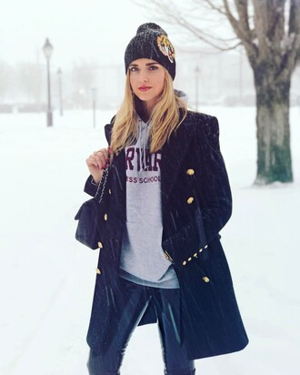 coat tumblr winter outfits winter coat winter look military style black coat hoodie grey hoodie logo pants black pants leather pants black leather pants vinyl black vinyl pants beanie black beanie bag black bag chiara ferragni top blogger lifestyle the blonde salad