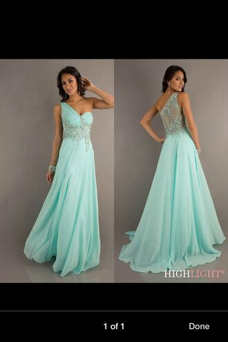 dress mint dress prom dress long prom dress formal dress formal clothes floor lenth dresses one shoulder dresses open back dresses