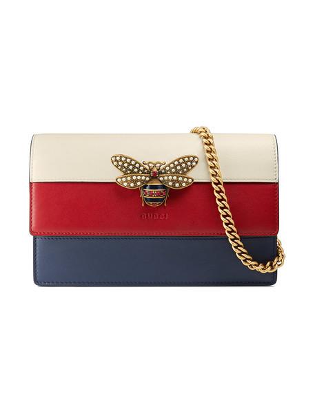 gucci mini metal women bag mini bag leather blue