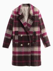 coat,tartan,plaid,Choies,choies coats