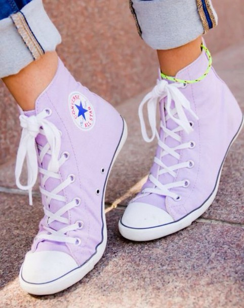 shoes purple converse sneakers lilac cute high top