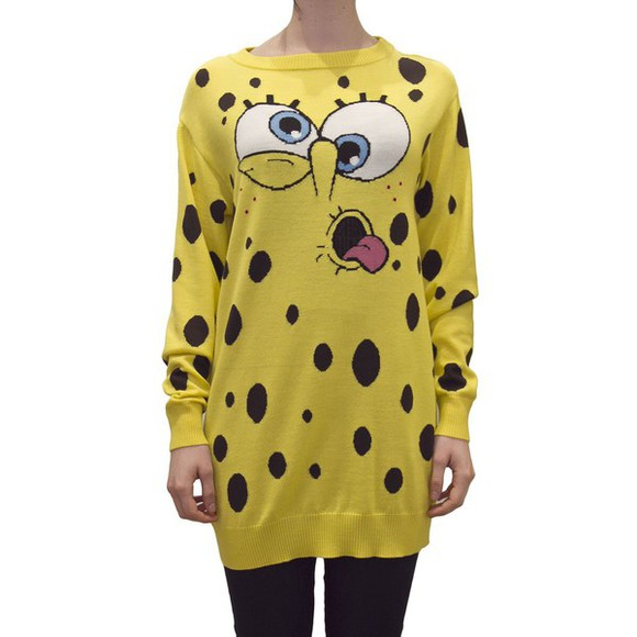 print dress spongebob knitwear sweater autum