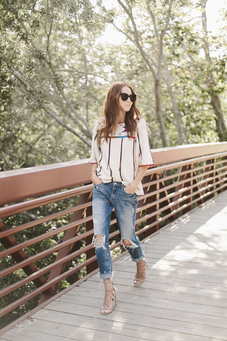 could i have that blogger sweater dress jeans shoes sunglasses jewels white top long sleeves ripped jeans skinny jeans nude heels