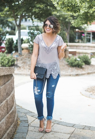 life & messy hair blogger top shoes bag sunglasses embellished top chanel bag sandals summer outfits