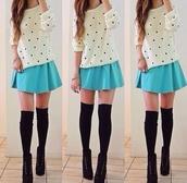 skirt,light blue skirt,medium,baby blue,sweater