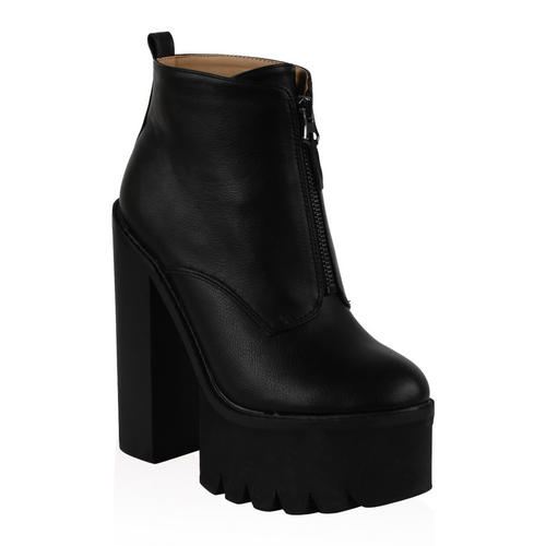 Ladies Grip Sole Womens High Platform Chunky Heel Ankle Boots Shoes Size 5-10