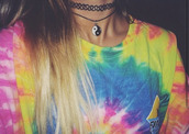 jewels,top,tie dye,t-shirt,shirt,grunge,grunge shirt,grunge t-shirt,grunge crop top,tumblr,hippie,boho,indie,rad