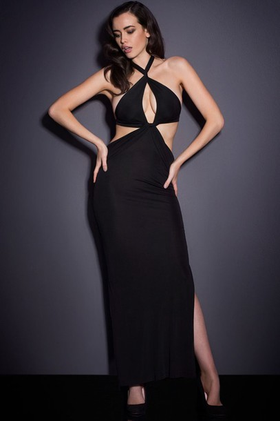 dress maxi black cut-out sexy dress sexy chic cute plunge neckline twist  halter wots 6f3925542