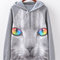 Stylish women cats printed long sleeve casual cotton hooed sweatshirt - newchic