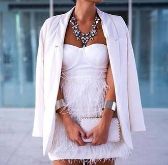 jewels bracelets silver bracelets statement necklace necklace big necklace white blazer blazer boyfriend blazer dress