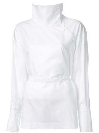 shirt collar shirt high women white cotton top