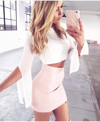 top white top summer top cute top crop tops white crop tops long sleeve crop top long sleeves outfit outfit idea summer outfits cute outfits spring outfits date outfit party outfits skirt mini skirt pencil skirt pink skirt high waisted skirt clothes fashion style stylish