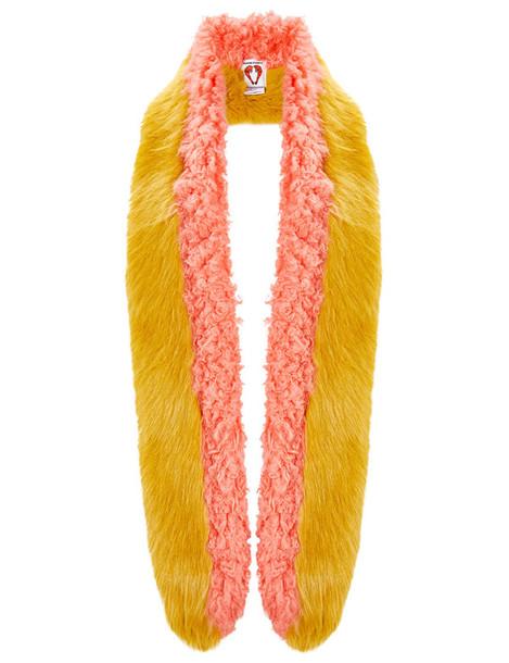 Shrimps fur faux fur scarf mustard