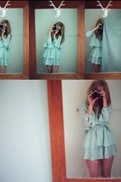 ruffle,blue dress,dress