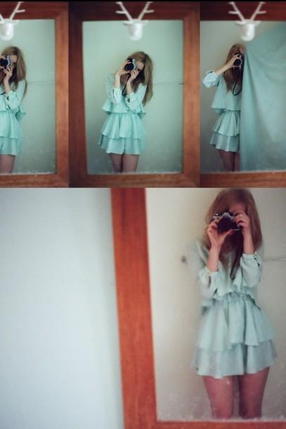 ruffle blue dress dress