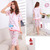 Women's Cute Cartoon Short Sleeve Lady's Pajamas Sleepwear Sleep Clothes Set