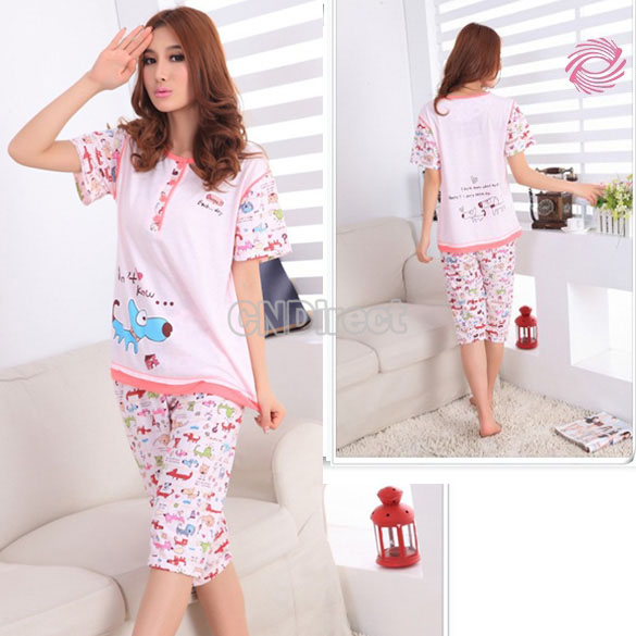 Cute Cartoon Short Sleeve Lady's Pajamas Sleepwear Sleep Clothes Set