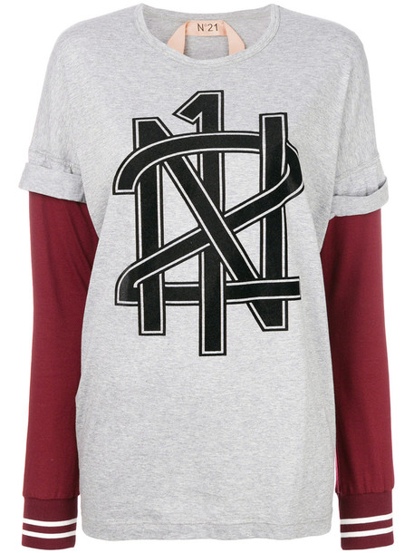 No21 - layered logo T-shirt - women - Cotton - 42, Grey, Cotton