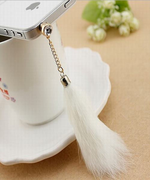 1pc Lovely Vogue White Fox Tail Cell Phone Headset Dust Plug for iPhone Samsung | eBay