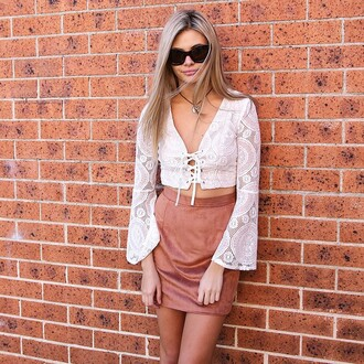 top lace crop lace white lace white lace crop bell sleeves flare sleeves lace up crop peppermayo