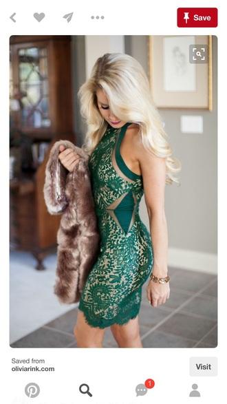 dress green lace dress
