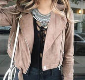 top,black,cut-out,dark,cleavage,jacket,rose,fall outfits,outfit,brown,light,leather