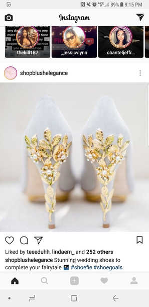 shoes gold leaves