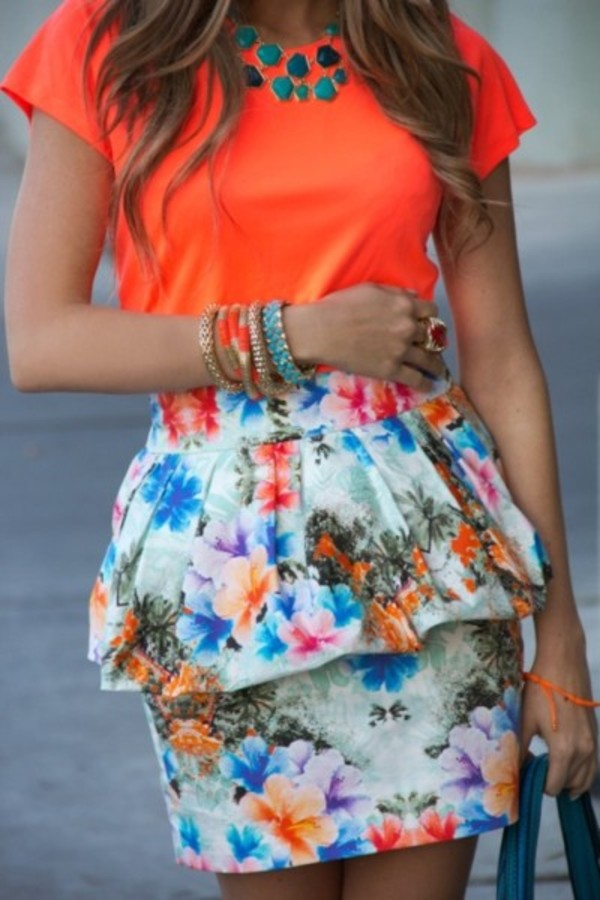 dress orange floral peplum jewels blouse skirt summer skirt peplum skirt floral colorful floral skirt print pattern summer outfits summer dress hibiscus