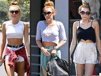 shorts miley cyrus miley cyrus outfits miley 2012 plaid high waisted shorts crop tops loose tank top loose crop top sunglasses round sunglasses lace shorts lace high waisted shorts