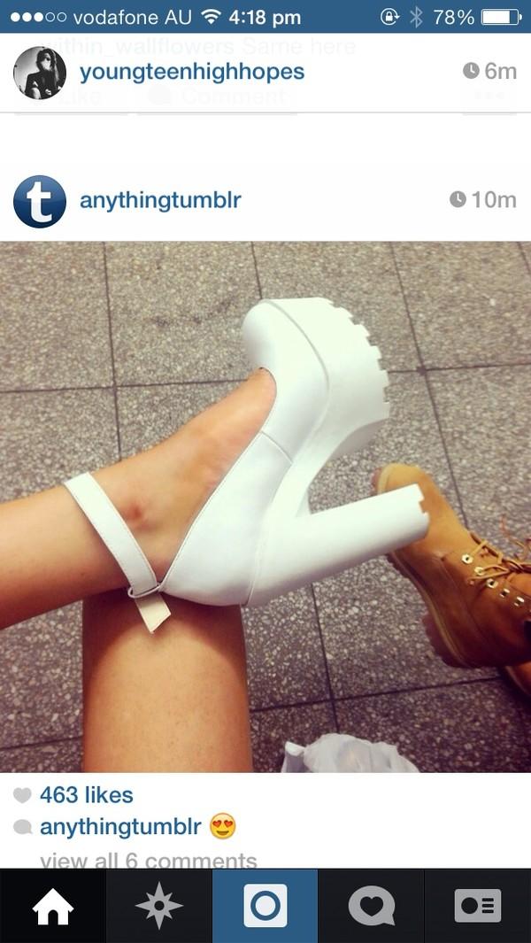 shoes heels white beautiful chunky