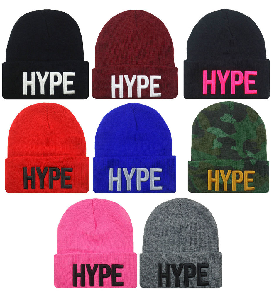 "NEW HYPE 3D EMBROIDERY ""HYPE"" BEANIE SKULL CAP HIP HOP HAT MANY COLORS AVAILABLE 