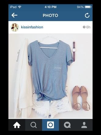 t-shirt california blue shirt light blue shirt pretty