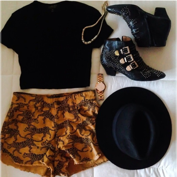 shorts orange shorts orange jewels tiger print black gold jewelry hat shoes