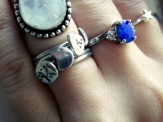 Lunar Rings - Phases of the Moon - Set of 4 Silver Stack Rings - Waning Waxing Crescent Full Moon