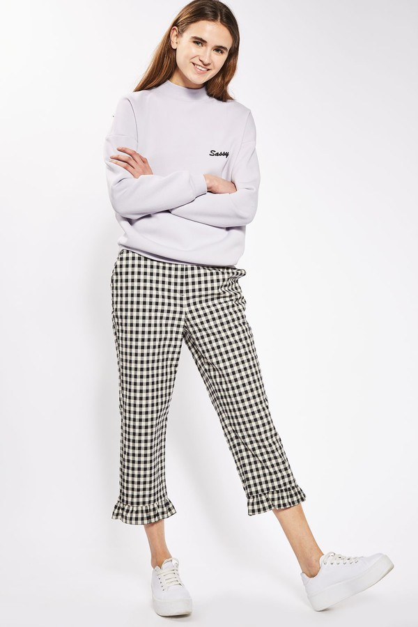 pants gingham cropped pants