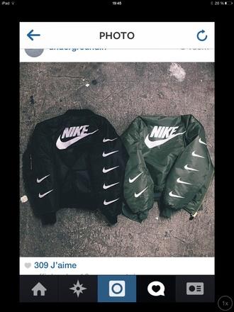 jacket nike bomber jacket black kaki vest fashion