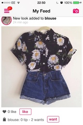 blouse,shorts,shirt,button-up,black,summer,see through,floral,cuffed sleeves,floral blouse,daisy,top,cute,spring,spring outfits,white daisy,daisy top,crop shirt,skirt,daisy black,daisy black button up,flowers,white,yellow,ootd,outfit,summer outfits,vintage,hipster,indie,alternative,boho,festival chic,chic,flower shirt