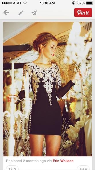 dress little black dress black beautiful pinterest cute dress jewels black dress lace backless long sleeve long sleeve dress vintage black with gold dress